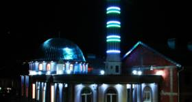 Charity Mosque in during night Prizren, Kosovo_thumb5