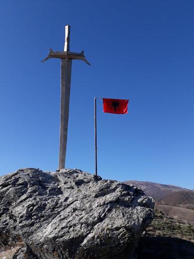 The historical sword of Skenderbeu reenacted in Llap, Kosovo
